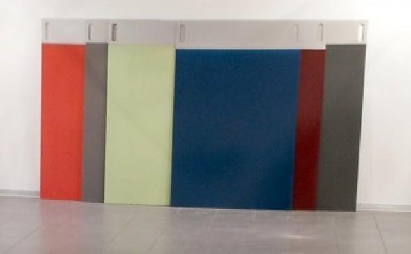 Getauchte Tafeln (Musterstapel M) Pigment, PUR, eloxiertes Aluminium je 150x100 cm, 2005