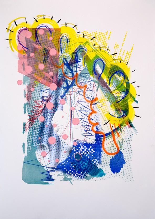 Raupe über dem Dach Acryl, Pastel, Siebdruck & Lithografie auf Papier, 42 x 60 cm, 2014