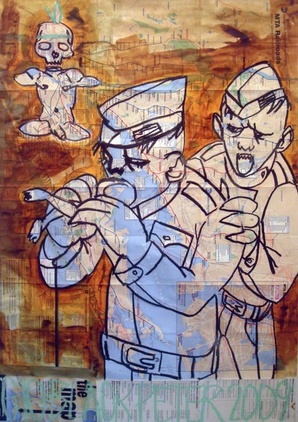 Take Away Acryl und Ölpastel auf NYC-U-Bahnplan, 82cm*58cm, 2009