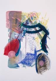 2-Äugiges-Monster Acryl, Pastel, Siebdruck & Lithografie auf Papier, 42 x 60 cm, 2014