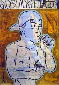 Smoke II Acryl und Ölpastel auf NYC-U-Bahnplan, 82cm*58cm, 2009