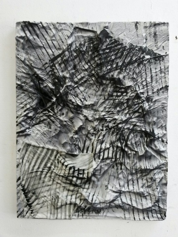Hannu Prinz Das nervöse Hemd 64 cm x 49 cm Leder und Samt auf Acryl