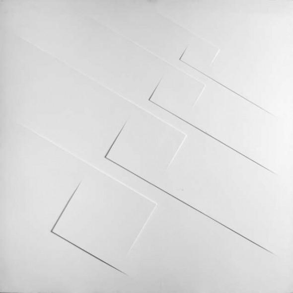 Relief, 1973 Vorsprünge und Acryl auf Leinwand mit Holzrahmen , 100x100cm Signiert auf der Rückseite