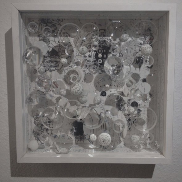 Mary Bauermeister Needless Needless commentary   40cmx40cm, 1964-2014, Optische Linsen, Holzkugeln, Glas, Tusche, Holz