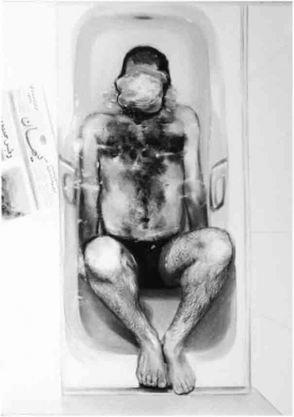 Mitra Farahani Bath (1) charcoal on cardboard, 100cm*70cm, 2008