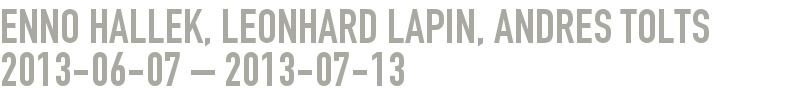 ENNO HALLEK, LEONHARD LAPIN, ANDRES TOLTS 2013-06-07 - 2013-07-13
