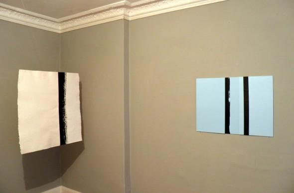 Faltung Chinatusche auf handgeschöpftem Papier,  100x110cm, 2012  Faltung Polystyrol und mixed media,  50x 70cm, 2013
