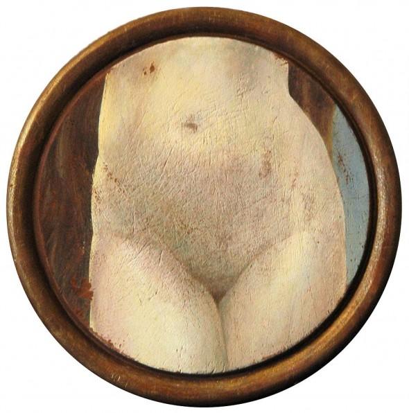 Laura Lopez Paniagua REPRESENTING A FEMALE HISTORY Nach Bouguereau Öl auf Holzbrett Ø 24,5 cm, 2013