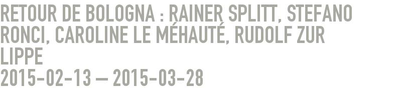 Retour de Bologna : Rainer Splitt, Stefano Ronci, Caroline Le MÉHAUTÉ, Rudolf zur Lippe 2015-02-13 - 2015-03-28