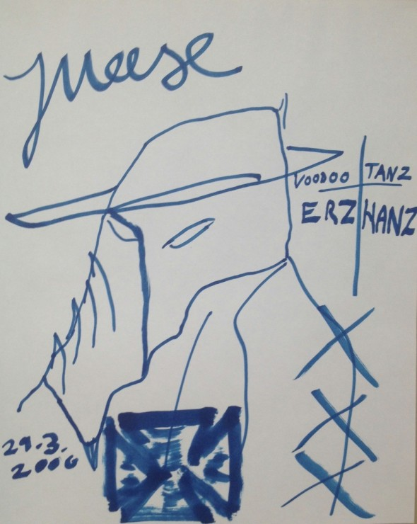 Jonathan Meese Voodoo Tanz Zeichnung, 29 x 23,5cm, signiert und datiert 29.03.2006