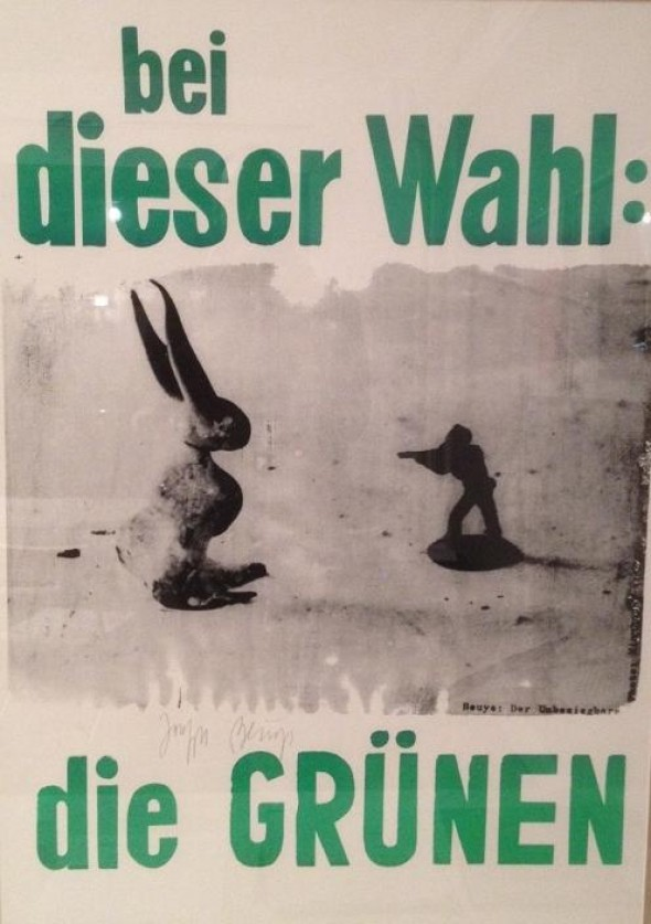 Joseph Beuys    Der Unbesiegbare Wahlkampfplakat für die 1.Bundestagswahl DER GRÜNEN Plakat, Handsiebdruck auf Papier ca. 84 x 59 cm, 1989, signiert vorne, Edition ca. 200 Werkverzeichnis Schellmann Nr. 307