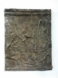 Hannu Prinz Erinnerungen an meinen alten serbischen Freund  65 cm x 49,5 cm Leder und Acryl auf Leinwand