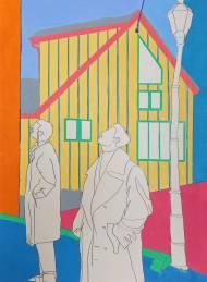 Navot Miller ZACH AND NAVOT IN QUÉBEC Pastelkreide und Bleistift auf Papier, 84x59,5cm, 2019