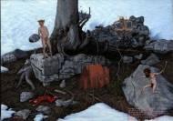 Alexander Zakharov Tod des Heiligen Adalbert oil on bord, 16cm*21cm, 2009