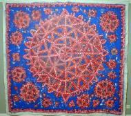 Gemälde mixed media, rot auf blau auf Leinwand 260 x 278 cm
